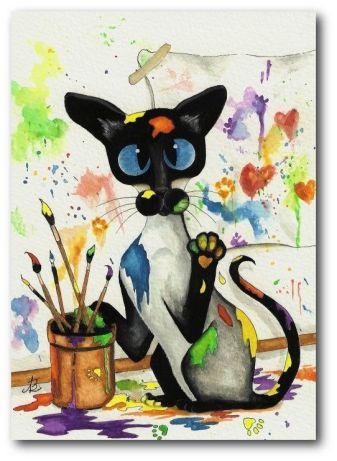 Chat siamois artiste peintre créatif