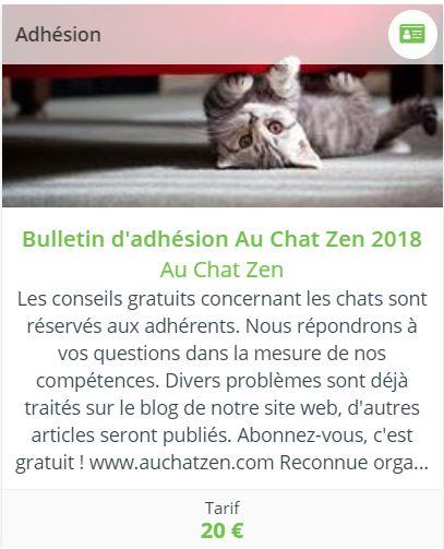 Adhésion Au Chat Zen 2018